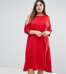 Closet Plus Skater Dress With Cold Shoulder Detail - Red