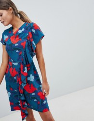 Closet Printed Dress With Frill Detail - Multi
