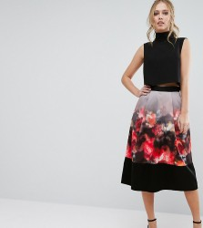 Closet Printed Midi Skirt with Border Hem - Multi