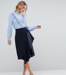 Closet Ruffle Detail Pencil Skirt - Navy