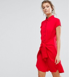 Closet Tie Front Dress With Cap Sleeve - Red
