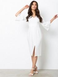 Closet V Neck Midi Dress Kropsnære kjoler White