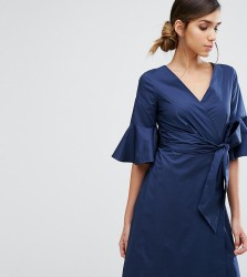Closet Wrap Front Shirt Dress with Fluted Sleeve - Navy