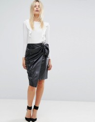 Closet Wrapover Pencil Skirt In Faux Leather - Black