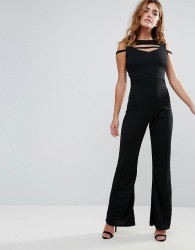Club L Band Cross Front Jumpsuit - Black