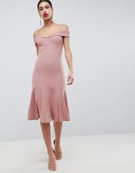 Club L Bardot Fit & Flare Dress - Pink