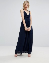 Club L Bridesmaid Pleated Maxi Dress With Crochet Lace Straps - Navy