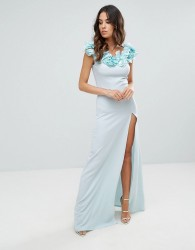 Club L Crepe Detail Maxi Dress With Floral Corsage - Blue