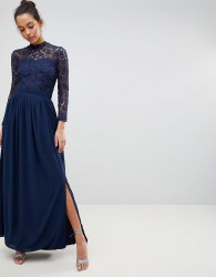 Club L High Neck Crochet Lace Maxi Dress With Long Sleeves - Navy