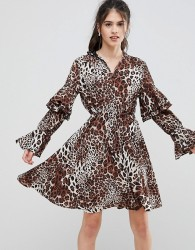 Club L High Neck Leopard Detailed Tiered Arm Dress - Multi