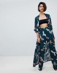Club L Long Sleeve Maxi Printed Kimono - Green