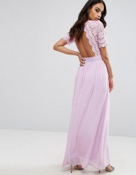 Club L Maxi Dress With Crochet Lace Detail & Cut Out Back - Purple