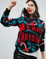 Club L Merry Christmas 3D Candy Cane Jumper - Multi