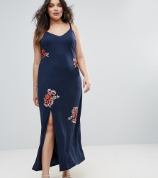 Club L Plus Cami Maxi Dress With Floral Embroidery - Navy