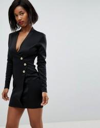 Club L Scuba Blazer Wrap Dress with Long Zip Detail at back - Black