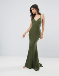 Club L Strappy Back Maxi Dress With Fishtail - Green