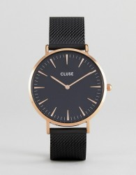 CLUSE CL18034 La Bohème Mesh Watch In Black - Black