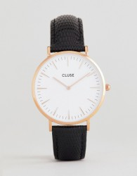 CLUSE CL18037 La Bohème Leather Watch In Black Lizard - Black