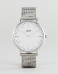 CLUSE CL18105 La Bohème Mesh Watch In Silver/White - Silver