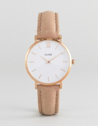 CLUSE CL30043 Minuit Leather Watch Rose Gold White/Hazelnut - Brown