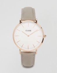 Cluse La Boheme Rose Gold & Grey Leather Watch CL18015 - Grey