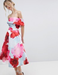 Coast Casis Bardot Floral Printed Volume Dress - Multi