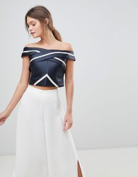 Coast Evie Stripe Bardot Top - Black