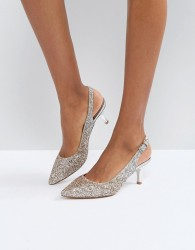Coast Glitter Pointed Kitten Heel Shoes - Silver