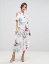 Coast La Hune Asymmetric Hem Floral Print Dress - White
