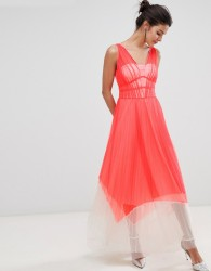 Coast Luca Pleated Colour Block Maxi Dress - Red