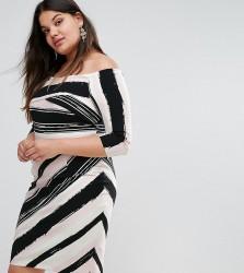 Coast Plus Colombus Bardot Striped Pencil Dress - Multi