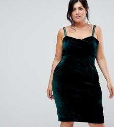 Coast Plus Fenya Green Velvet Dress - Black