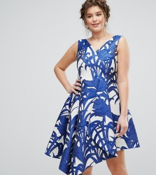 Coast Plus Palm Print Full Midi Dress - Multi