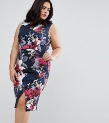 Coast Plus Penelope Floral Print Scuba Pencil Dress - Navy