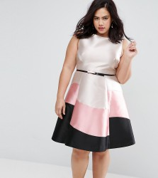 Coast Plus Sleeveless Colour Block Dress - Pink