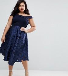 Coast Plus Valerie 2 In 1 Cutwork Lace Bardot Midi Dress - Navy
