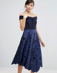 Coast Valerie Bardot Top Midi Dress - Blue