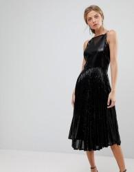 Coast Viviana Pleated Sequin Dress - Black