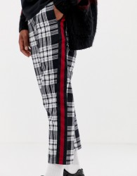 COLLUSION skater fit check trousers with side stripe - Blue