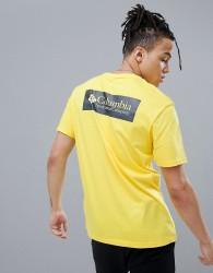 Columbia Back Logo Print T-Shirt in Yellow/Navy - Yellow