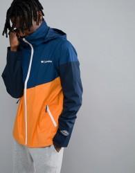 Columbia Inner Limits Waterproof Jacket Concealable Hood Shoulder Stripe Print in Navy - Navy