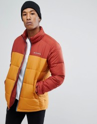 Columbia Pike Lake Puffer Jacket in Red/Gold - Red