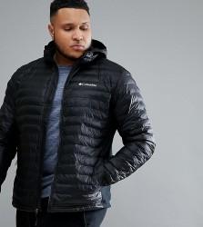 Columbia PLUS Powder Lite Lightweight Hybrid Puffer Jacket Hooded in Black - Black