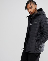 Columbia Powder Lite Puffer Jacket Hooded in Black - Black