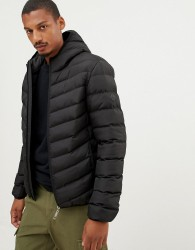 Criminal Damage chevron puffer jacket with hood - Black
