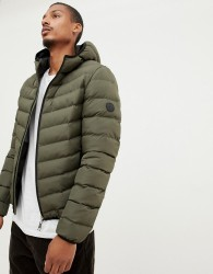 Criminal Damage chevron puffer jacket with hood - Green