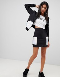 Criminal Damage Circa Skirt with Holographic Patches - Black