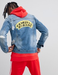 Criminal Damage Crest Ripped Denim Back Logo Jacket - Blue