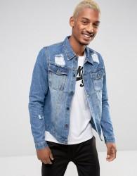 Criminal Damage Denim Jacket With Distressing - Blue