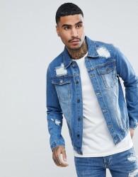 Criminal Damage Distressed Denim Jacket - Blue